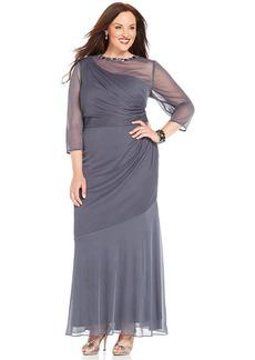 Alex Evenings Plus Size Illusion-Sleeve One-Shoulder Gown