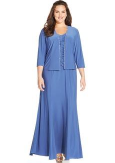 Alex Evenings Plus Size Jewel-Trim Gown and Jacket