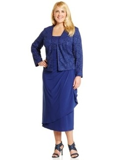 Alex Evenings Plus Size Lace A-Line Dress and Jacket