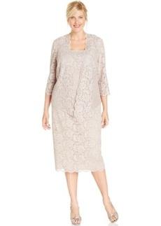 Alex Evenings Plus Size Lace Jacket Dress