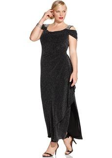 Alex Evenings Plus Size Metallic Knit Faux-Wrap Gown