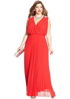 Alex Evenings Plus Size Pleated Faux-Wrap Gown