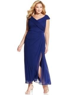 Alex Evenings Plus Size Portrait-Collar Side-Slit Gown