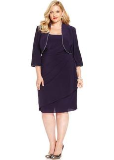 Alex Evenings Plus Size Rhinestone-Trim Dress and Jacket