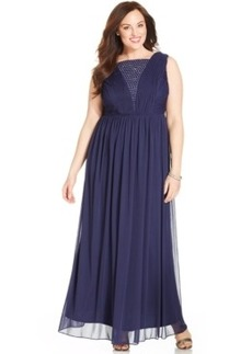 Alex Evenings Plus Size Rhinestone-Trim V-Back Gown