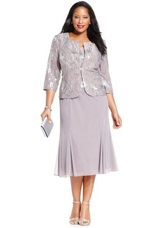 Alex Evenings Plus Size Sequin Chiffon Dress and Jacket