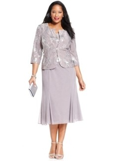Alex Evenings Plus Size Sequin Chiffon Dress and Jacket