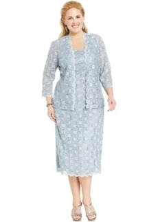Alex Evenings Plus Size Sequin Lace Dress and Jacket