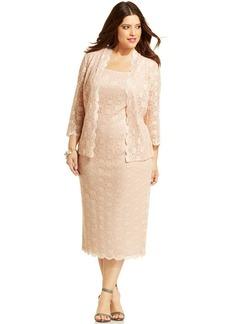 Alex Evenings Plus Size Sequin Lace Dress and Jacket