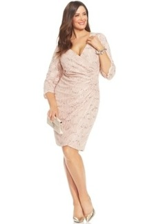 Alex Evenings Plus Size Sequined Faux-Wrap Dress