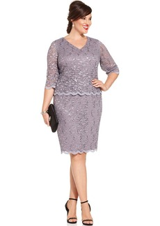 Alex Evenings Plus Size Three-Quarter-Sleeve Sequin Lace Sheath