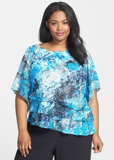 Alex Evenings Print Asymmetric Tier Blouse (Plus Size)