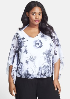 Alex Evenings Print Chiffon Twinset (Plus Size)