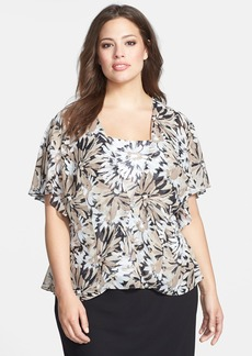 Alex Evenings Print Flutter Sleeve Chiffon Twinset (Plus Size)
