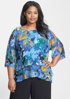Alex Evenings Print Tiered Chiffon Blouse (Plus Size)