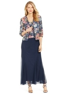 Alex Evenings Printed Crochet-Overlay Gown & Jacket