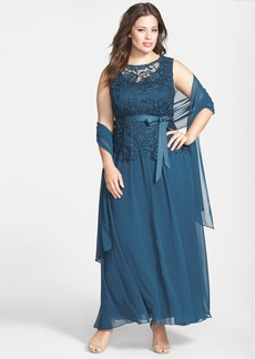 Alex Evenings Ribbon Tie Lace Bodice Gown with Shawl