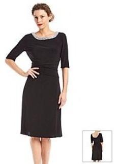 Alex Evenings® Ruched Jewel Neck Dress
