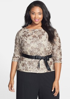 Alex Evenings Satin Rosette & Embellished Lace Top (Plus Size)