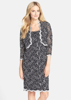 Alex Evenings Scalloped Lace Sheath Dress & Jacket