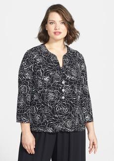 Alex Evenings Sequin Floral Knit Twinset (Plus Size)