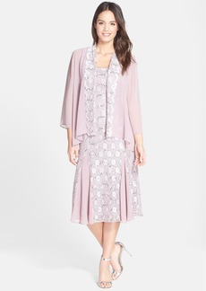 Alex Evenings Sequin Lace & Chiffon Midi Dress with Jacket