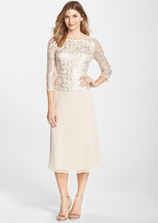 Alex Evenings Sequin Lace Bodice Chiffon Midi Dress (Regular & Petite)
