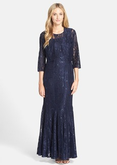 Alex Evenings Sequin Lace Trumpet Gown with Jacket (Regular & Petite)