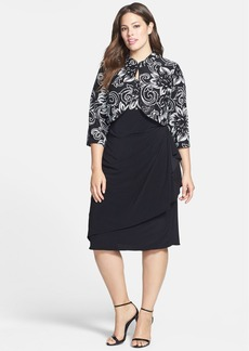 Alex Evenings Sequin Patterned Dress & Jacket (Plus Size)