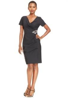 Alex Evenings Short-Sleeve Side-Pleat Dress
