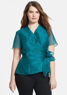 Alex Evenings Side Tie Wrap Blouse (Plus Size)