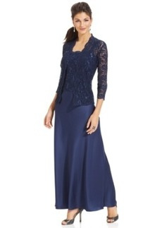 Alex Evenings Sleeveless Sequin-Lace Gown and Jacket