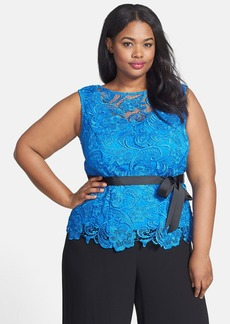 Alex Evenings Sleeveless Tie Waist Lace Blouse (Plus Size)