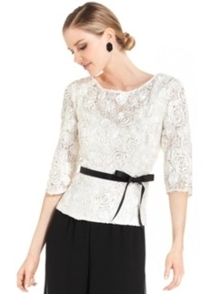 Alex Evenings Three-Quarter-Sleeve Sequined Lace Top