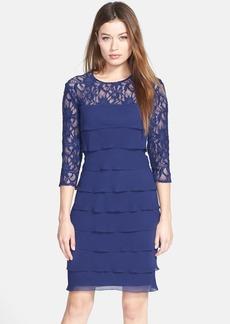 Alex Evenings Tiered Chiffon & Lace Sheath Dress (Regular & Petite)