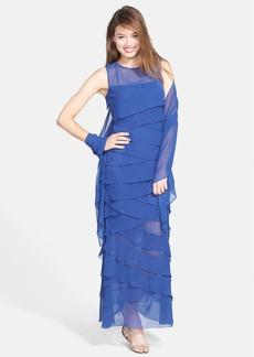 Alex Evenings Tiered Chiffon Gown & Shawl