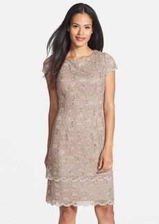 Alex Evenings Tiered Lace Sheath Dress (Regular & Petite)