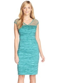 Alex Evenings V-Neck Cap Sleeve Sheath (Regular & Petite)