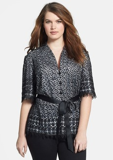 Alex Evenings V-Neck Lace Top (Plus Size)