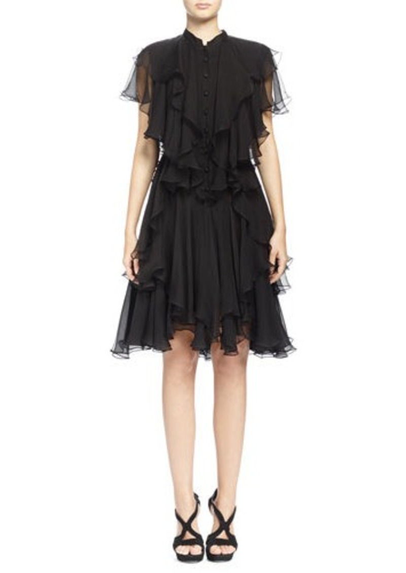 alexander mcqueen alexander mcqueen angled multi layered ruffle dress black dresses shop it. Black Bedroom Furniture Sets. Home Design Ideas