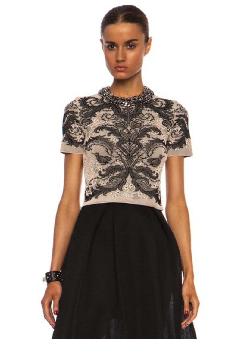 alexander mcqueen alexander mcqueen baroque spine lace crop top casual shirts shop it to me. Black Bedroom Furniture Sets. Home Design Ideas