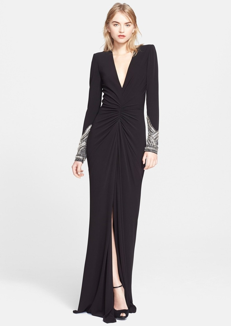 alexander mcqueen alexander mcqueen long sleeve jersey gown sizes 6 shop it to me all. Black Bedroom Furniture Sets. Home Design Ideas