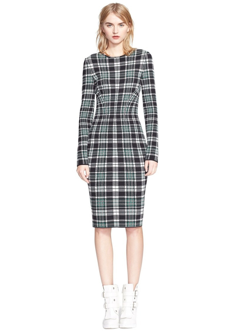alexander mcqueen alexander mcqueen long sleeve plaid sheath dress dresses shop it to me. Black Bedroom Furniture Sets. Home Design Ideas