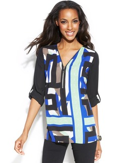 Alfani Abstract-Print Zip-Front Top
