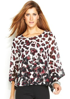 Alfani Petite Angel-Sleeve Animal-Print Top