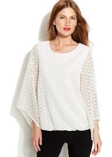 Alfani Angel-Sleeve Crochet Blouson Top