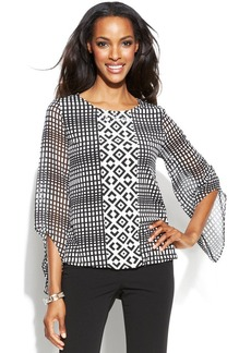 Alfani Angel-Sleeve Geo-Print Blouson Top