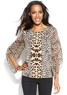 Alfani Angel-Sleeve Leopard-Print Blouse