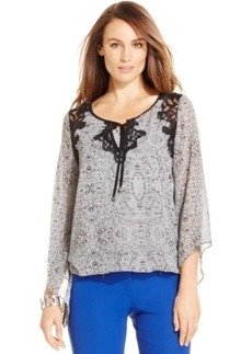 Alfani Petite Angel-Sleeve Printed Blouson Top, Only at Macy's