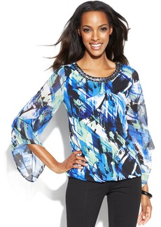 Alfani Angel-Sleeve Printed Chain-Neck Top